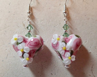 White  Pink and Erinite Green Lampwork Floral Glass Bead Heart Earrings silver