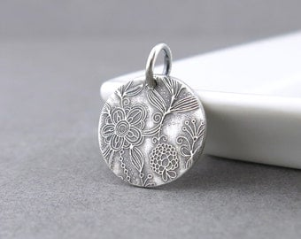 Flower Pendant Small Silver Charm Garden Pendant Silver Circle Charm Interchangeable Add On Pendant Floral Jewelry