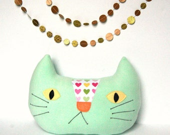 Happy Cat Pillow, Nursery Decor, Kids Pillow, Cat Cushion, Kawaii Cat, Plush Cat Softie