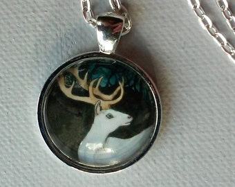 White Stag - Unique Art Pendant -  Deer Jewelry