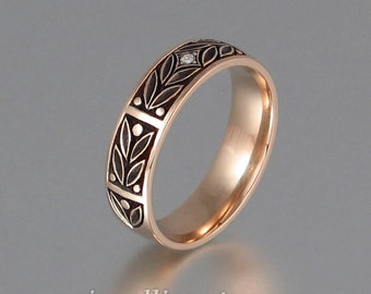 EVERGREEN LAUREL wedding band 14k rose gold with Diamond