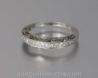 THE ENCHANTED sterling silver band with White Sapphires half-eternity band