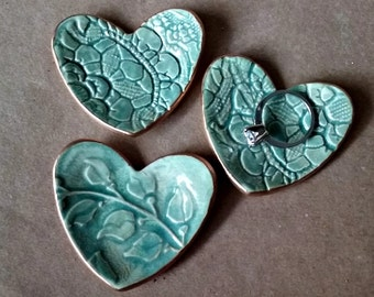 THREE Itty Bitty Ceramic Heart Dishes gold edged Sea green
