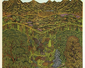 Overlook - Woodcut Print, Woodblock Print by Tugboat Printshop