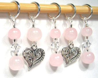 Floating Heart Stitch Marker Set - Customizable for Knitting or Crochet