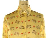 70s Tree Shirt Vintage 1970s Sheer Cotton Novelty Button Up Blouse with Abstract Floral & Tree Print on Yellow Long Sleeve Fold Down Collar