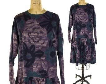 80s French Designer Dress / Vintage Chacok Paris Boutique Dirndl Dress / Ikat Kasuri Inspired Abstract Print / Drop Waist Ballerina Skirt