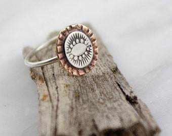 Native Stamped Stacking Sterling Silver and Copper Ring