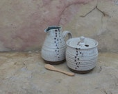 Sugar and Creamer Set - Handmade Stoneware Ceramic Pottery - White and Midnight Blue - 8 ounces