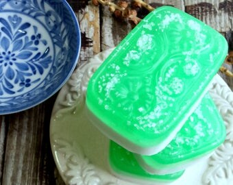Ginger Lime Sea Salt Soap . Handmade Soap with Olive Oil Shea Butter and Natural Glycerin . 3.75oz