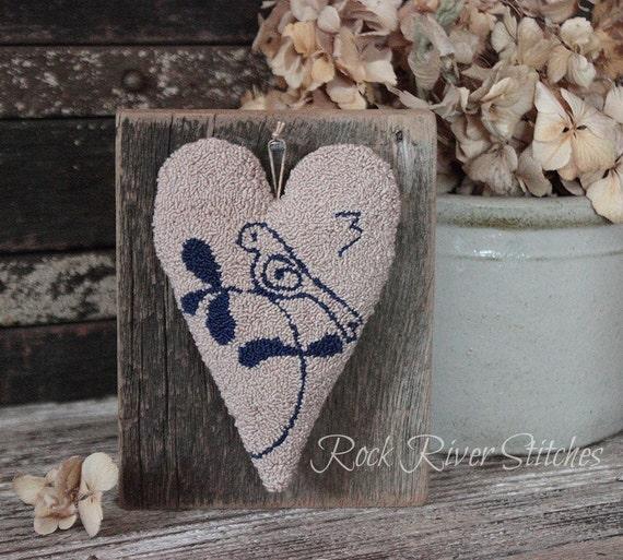 Primitive Punch Needle Heart Wall Hanging, Reclaimed Wood, Finished Punch Needle, Folk Art Shelf Sitter