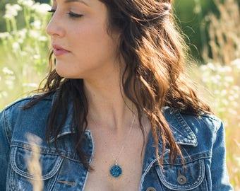 Druzy Pendant Necklace, Large Blue Druzy Necklace, Silver Druzy Necklace, Drusy Gemstone Necklace, Circle Dangle Necklace, Blue Green