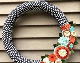 Fall Wreath,  Autumn Wreath,  Thanksgiving Wreath,  Fall Felt Wreath,  Felt Wreath,  Polka Dot Wreath,  Front Door Wreath, Holiday Wreath