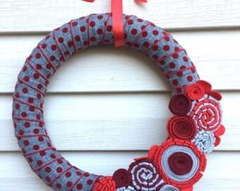 Valentine's Day Wreath - Heart Wreath - Valentine Wreath - Mother's Day Wreath - Polka Dot Wreath - Red Wreath - Felt Flower Wreath - Wreath