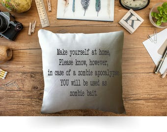 funny pillow/  decorative throw pillow cover/ zombie apocalypse pillow/ zombie lover gift
