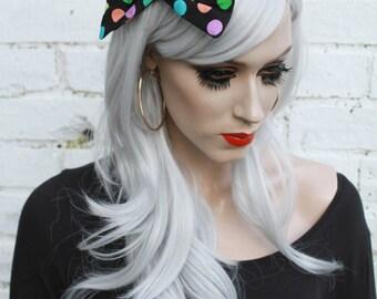 Black Multi Colour Dots Vintage 50s Style Bow Hair Clip