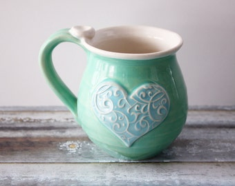 Blue and Green Heart Mug - Ready to Ship  - Holds 14 oz