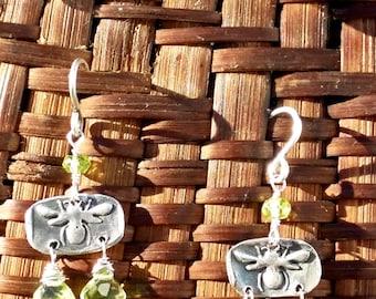 Bee's Knees Earrings with Peridot Drops