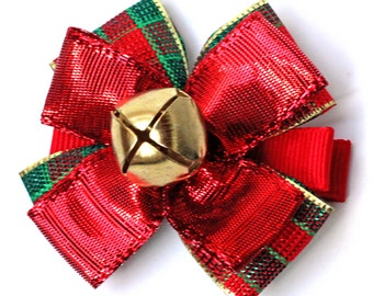 Christmas Jingle Bell Hair Bow. Girls Xmas Hairclips Set of 2. Toddler Red Metallic Hair Clips. Red and Green Plaid With Gold Jingle Bells
