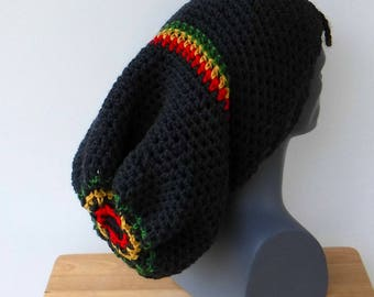 Rasta super long snood tam, charcoal Jamaica dreadlocks dread tam, extreme slouchy hat, men slouchy beanie, woman slouch hat, slouchy hat