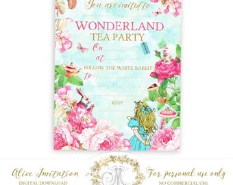 Alice in Wonderland tea party invitation, printable, instant digital download, for birthday or special occasion, Personal use only