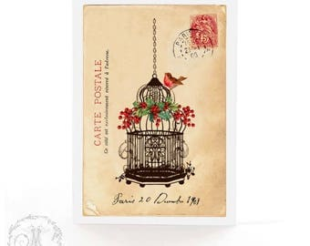 Christmas card, vintage bird cage with robin, red berries, holly, French postcard, holiday card, blank card