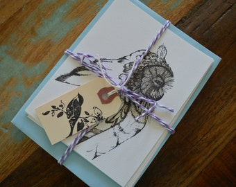 Package Of 8 Pen And Ink Owl Post Cards W/Matching Envelopes In Powder Blue, Nicely Tied W/Bakers Twine And Vintage Bird Tag, Bird Art, Gift