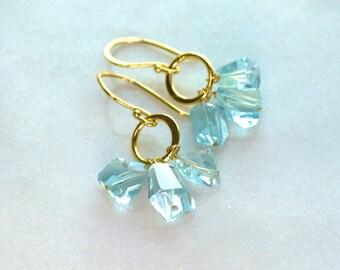 Blue Topaz Nugget, 22kg Vermeil Drop Earrings...