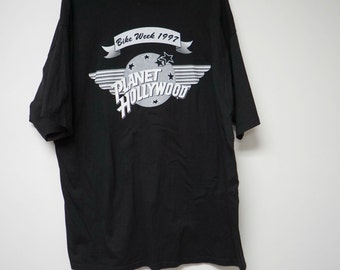 "Planet Hollywood . 1997 Bike Week . Myrtle Beach . black graphic tee shirt . xxl . 50"" bust . made in USA"