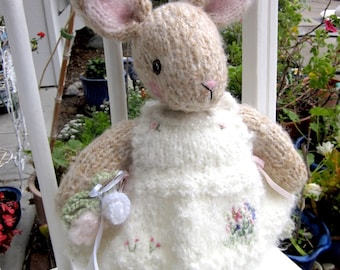 Knit Mohair Easter Bunny Doll, Hand Knit, One of a Kind, Stuffed Rabbit Doll, Heirloom Collectible/ Rebecca Who is Five