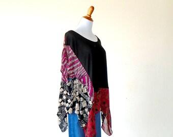 One Size Good Karma Kerchief Gypsy Poncho ~ shrug shawl ruana boho chic hippie cape handmade clothing sweater wrap upcycled wearable art