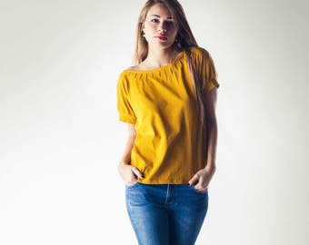 Yellow Top, Tshirt, Pleated Blouse, Short sleeve top, Yoga top, Maternity clothes, Women top, Casual clothing, Plus size, Cotton clothing