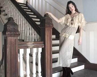 SWEET CHARLOTTE Edwardian Lace dress Beautiful 1910 teens vintage
