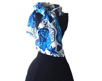Silk Scarf - Hand Painted Silk Scarf, Blue Flowers