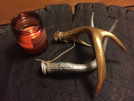 Gold & Silver painted antlers- set of 2