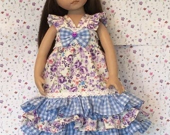 Effner Little Darling Doll Sundress With Headband Purple Roses In My Garden By TnTCreations