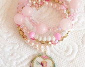 Valentines Cupid Pink Gold Rose Sparkle Rhinestone Bead Wire Wrap Bracelet Jewelry Glamourous Arm Candy