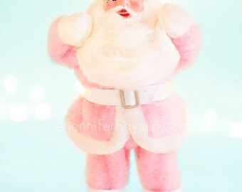 Pink Santa Vintage Christmas Photography 8x10 pink GLITTER shabby cottage holiday home decor wall art photography print
