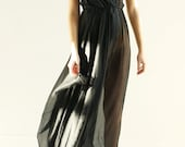 Sample SALE -  fashion forward black sheer silk chiffon gown