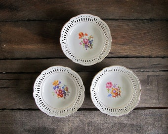 Set of 6 Vintage Germany IJB Reticulated Berry Bowls