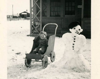 vintage photo Little Boy in Wooden Wagon Snowman Winter