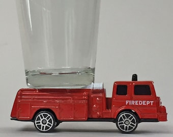 the ORIGINAL Hot Shots Shot Glass, Denver Pumper, Red Fire Truck, Maisto car