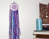 Dreamcatcher Purple and Blue Colors Upcycled Fabric, Handmade Beads Festival and Boho Style Wall Hanging or Patio Flag