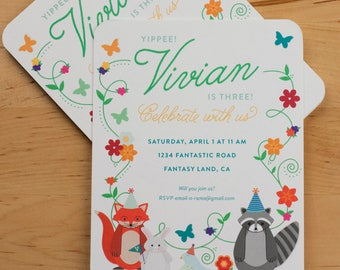 Party Invitation — Floral Vine Woodland