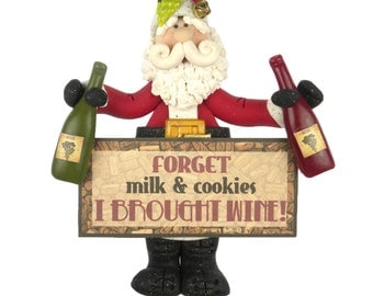 Wine Santa Ornament