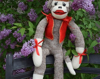 Circus Sock Monkey, Vintage, Handmade in 1970s or 1960s, perfect condition, 21""