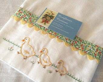 Three Little Duckings - Hand Embroidered Pillowcase