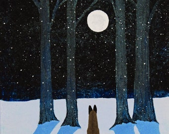 Belgium Shepherd Malinois Dog original folk art painting by Todd Young 8x10 WINTER MOON