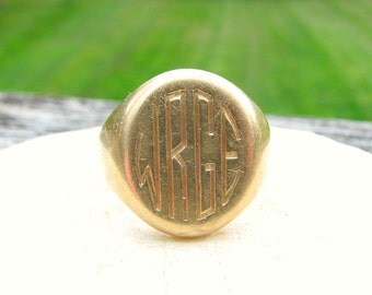 Art Deco Tiffany & Co. Gold Signet Ring, Big, Bold and Beautiful in 14K Gold, 20.65 grams, Mens or Womens Ring, Custom Monogram Available