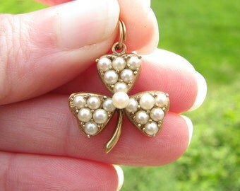 Antique Lucky Gold Clover Pendant, Charming Seed Pearl Pendant, Lucky Charm or Watch Fob, 14K Gold, Late Victorian Period